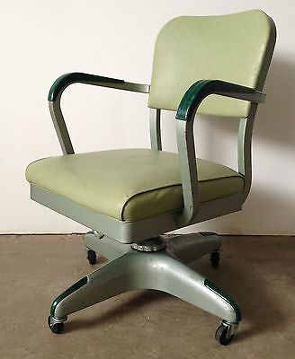 Vintage Metal All Steel Equipment Swivel Office Desk Chair McM