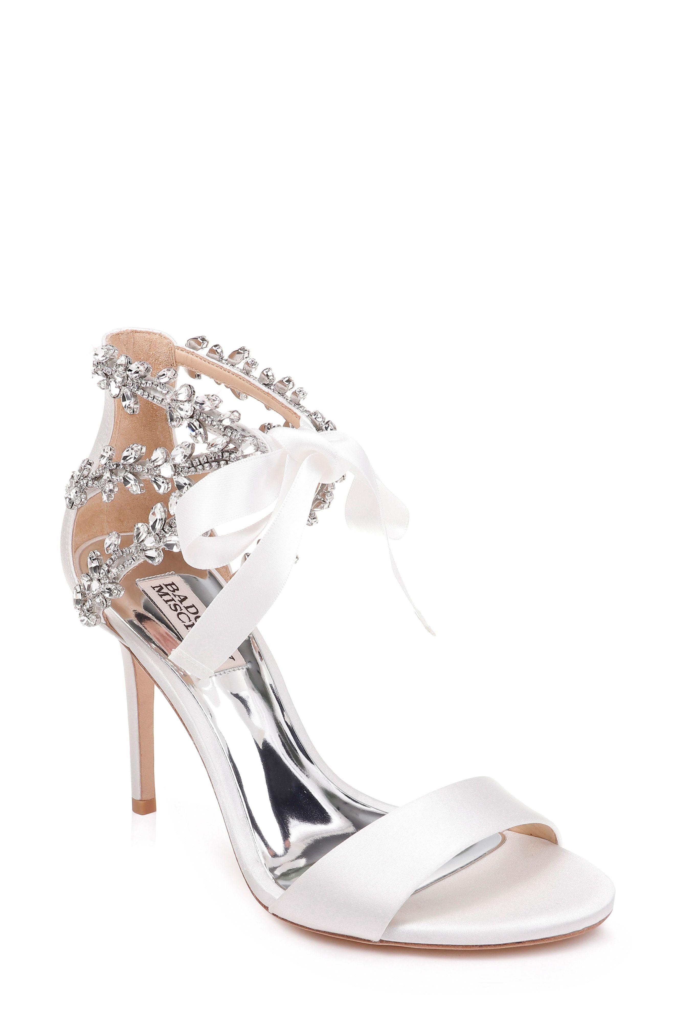 2822aa72ee6 Dream wedding heels! Embellished bridal high heeled sandals with a ...