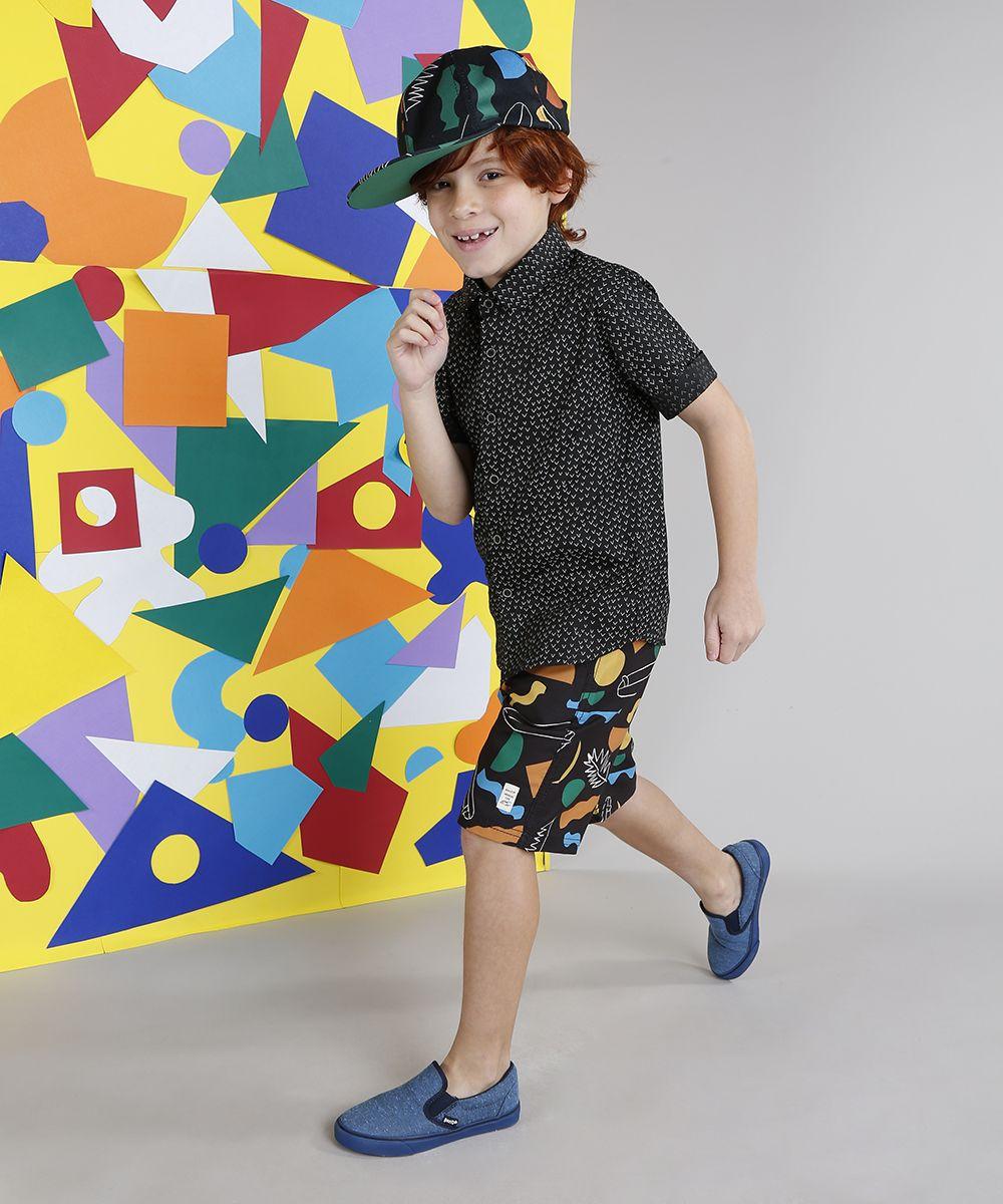 8de23a3fcb Camisa Infantil Bento Estampada Mini Print Geométrica Manga Curta Preta