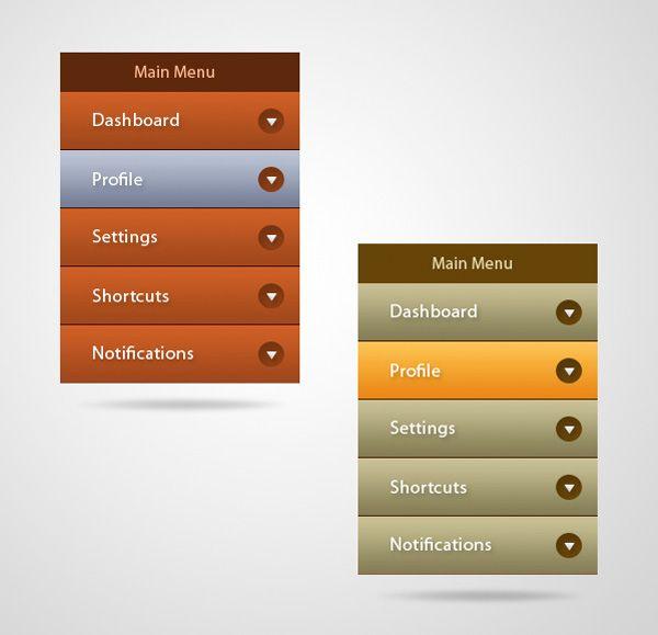 2 Flat Vertical Navigation Menu UI Set - http://www.welovesolo.com/2-flat-vertical-navigation-menu-ui-set/