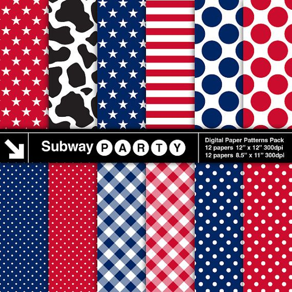 Nail Cake Blue Black Splodges Cow Print: American Cowboy Digital Papers Pack In Red, White, Blue