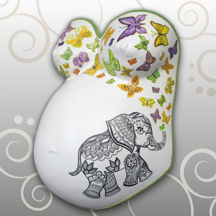 babybauch zentangle elefant schmetterlinge babybauch. Black Bedroom Furniture Sets. Home Design Ideas
