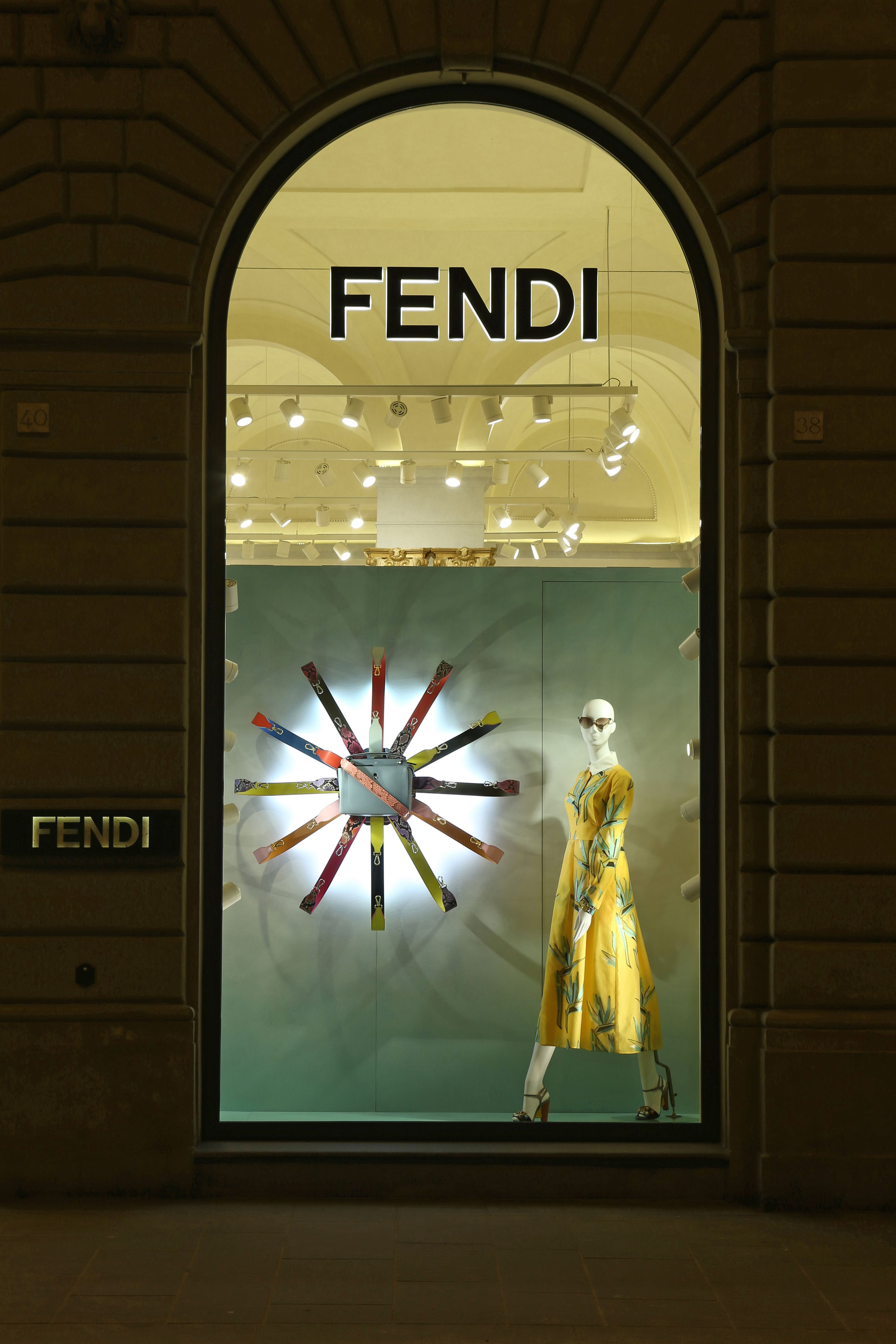 The Fendi Strap You Accessory Collection Displayed In The New Boutique Window Theme In Florence