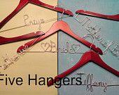 Personalized Bridesmaid Hangers Personalized Hanger Wedding Dress Hangers Gift Wedding Hanger Bridal Accessories. $120.00, via Etsy.