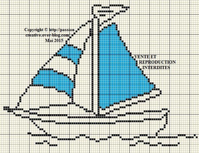 Grille gratuite point de croix  Bateau à voile Cross stitch - Dessiner Maison D Gratuit