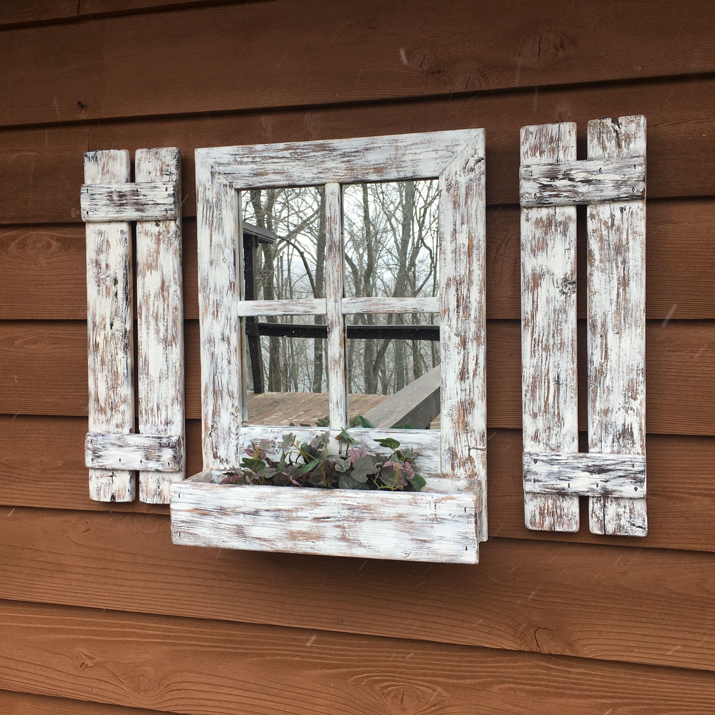 Shutter Mirror Farmhouse Decor Lake House Rustic Mirror Window