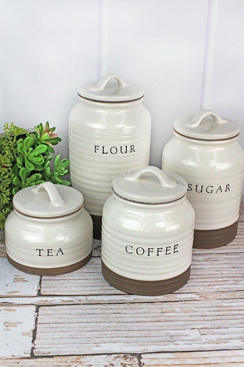 Four Piece Farmhouse Canister Set Rustic Canister Set Kitchen Canister Set Countertop Ceramic Ceramic Canister Set Kitchen Canister Sets Coffee Canister