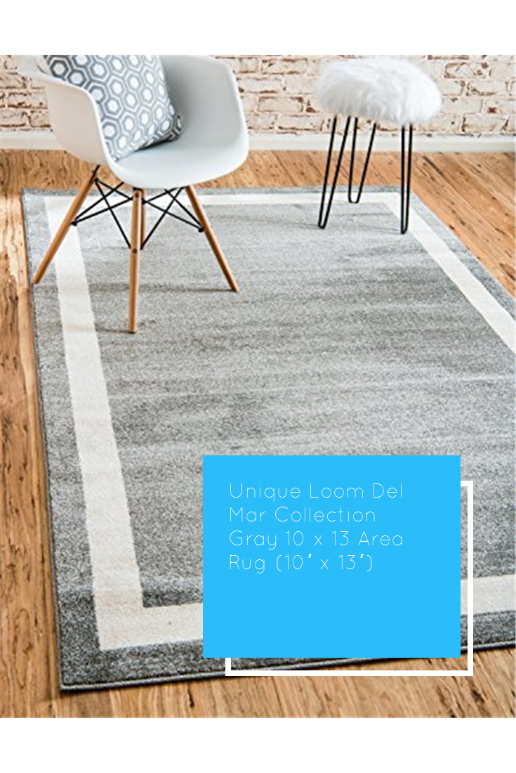 Unique Loom Del Mar Collection Gray 10 X 13 Area Rug 10 X 13