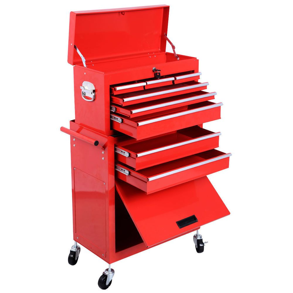2pc Large Red Portable Rolling Tool Box Locking Storage Chest ...