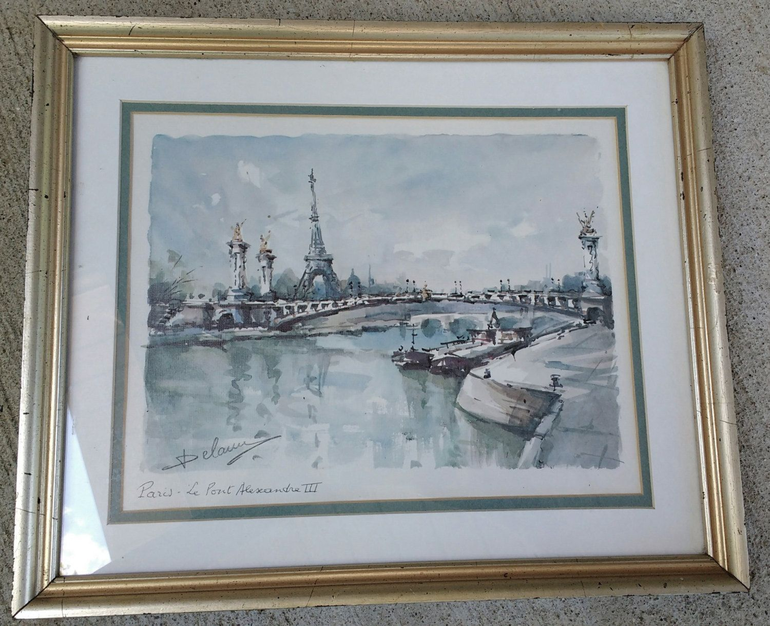 Vintage Lucien Delarue Watercolor 50 S Print Paris Le Pont Alexandre Iii Eiffel Tower Pastel French Artwork Matted French Artwork Paintings Prints Painting