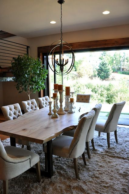 Dining room opening to outdoors with rustic table from for Rustic dining area