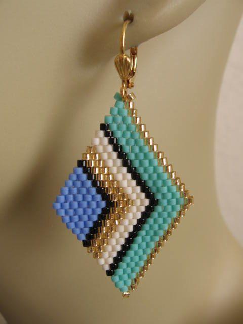 Beadwoven Diamond Shape Earrings Periwinkle Seafoam