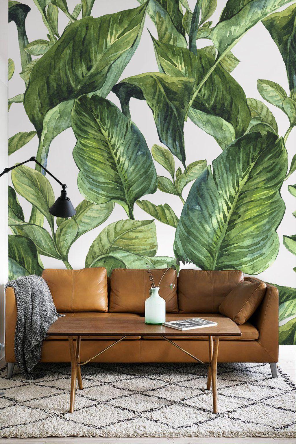Banana Leaves Peel Stick Wall Mural Tropical Wallpaper Mural Wallpaper Mural