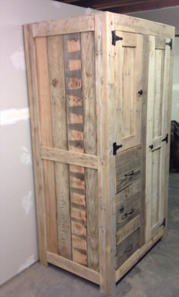 diy pallet cabinet for storage 101 pallets thing to make someday pinterest m bel. Black Bedroom Furniture Sets. Home Design Ideas
