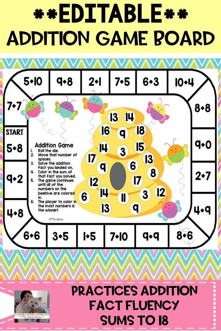 Editable Addition Game Board Video Addition Games Math Facts Math Board Games Addition board game printable