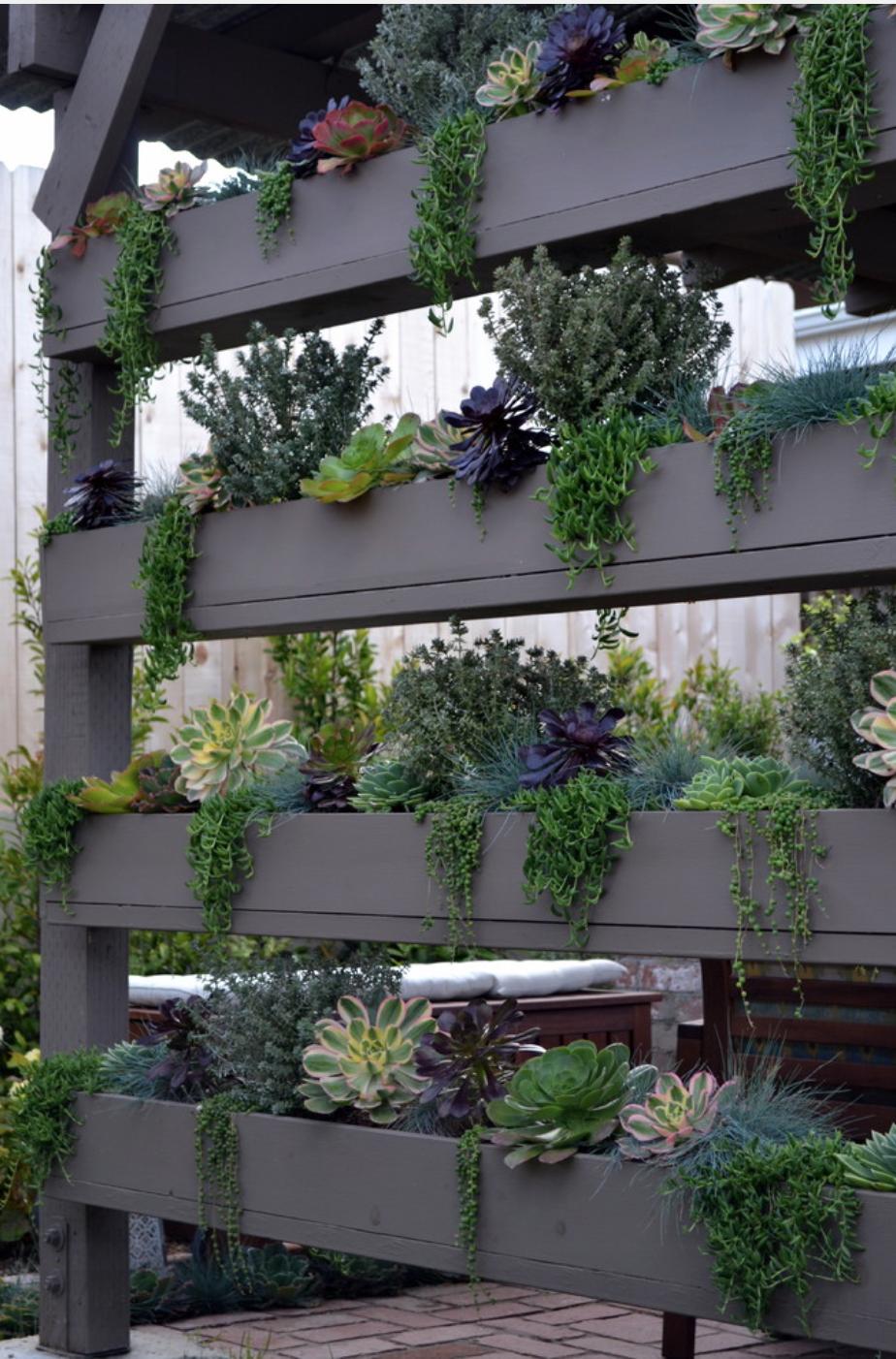 Vertical planters by living gardens landscape design via greg