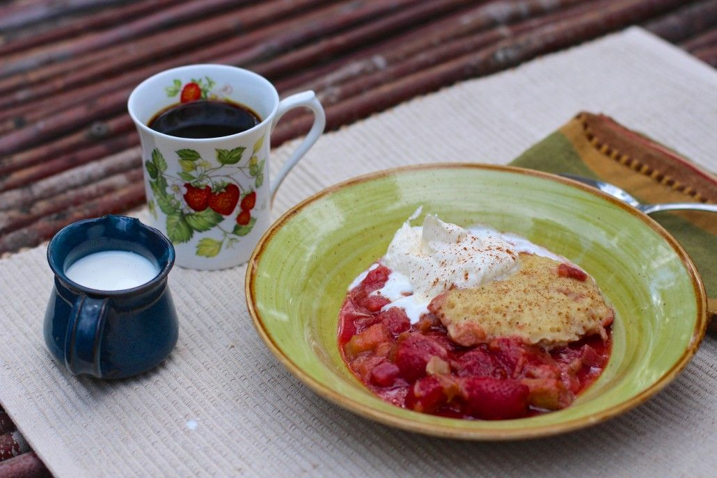 Ever make a slump? Just know it's a strawberry rhubarb recipe. Enough said. Healthy and delicious.