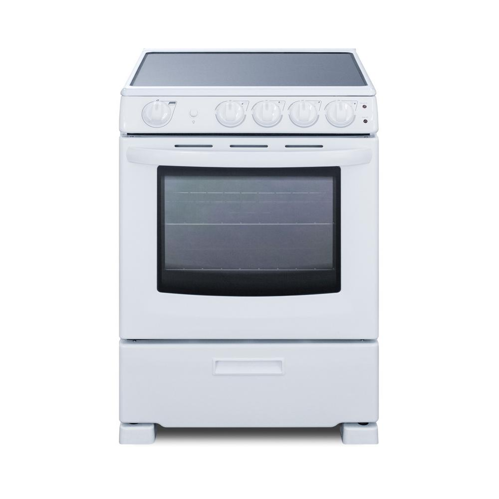 Summit Appliance 24 In 2 9 Cu Ft Slide In Electric Range In White Rex2421wrt The Home Depot 940 Freestanding Electric Ranges Electric Range Top Slide
