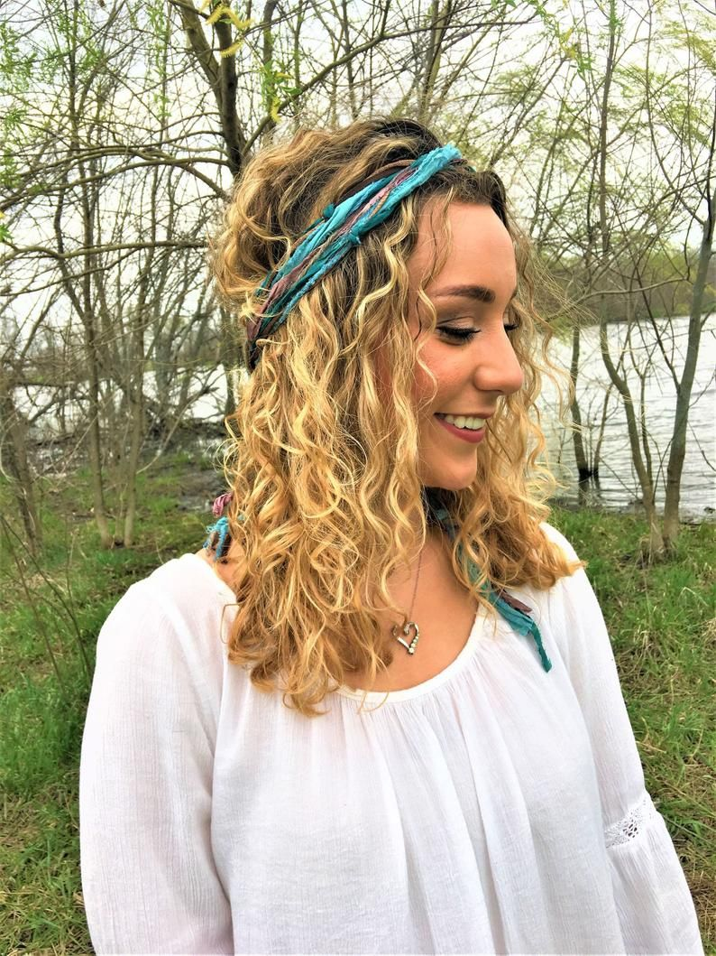 boho head scarf hippie headband teal hair wrap head band