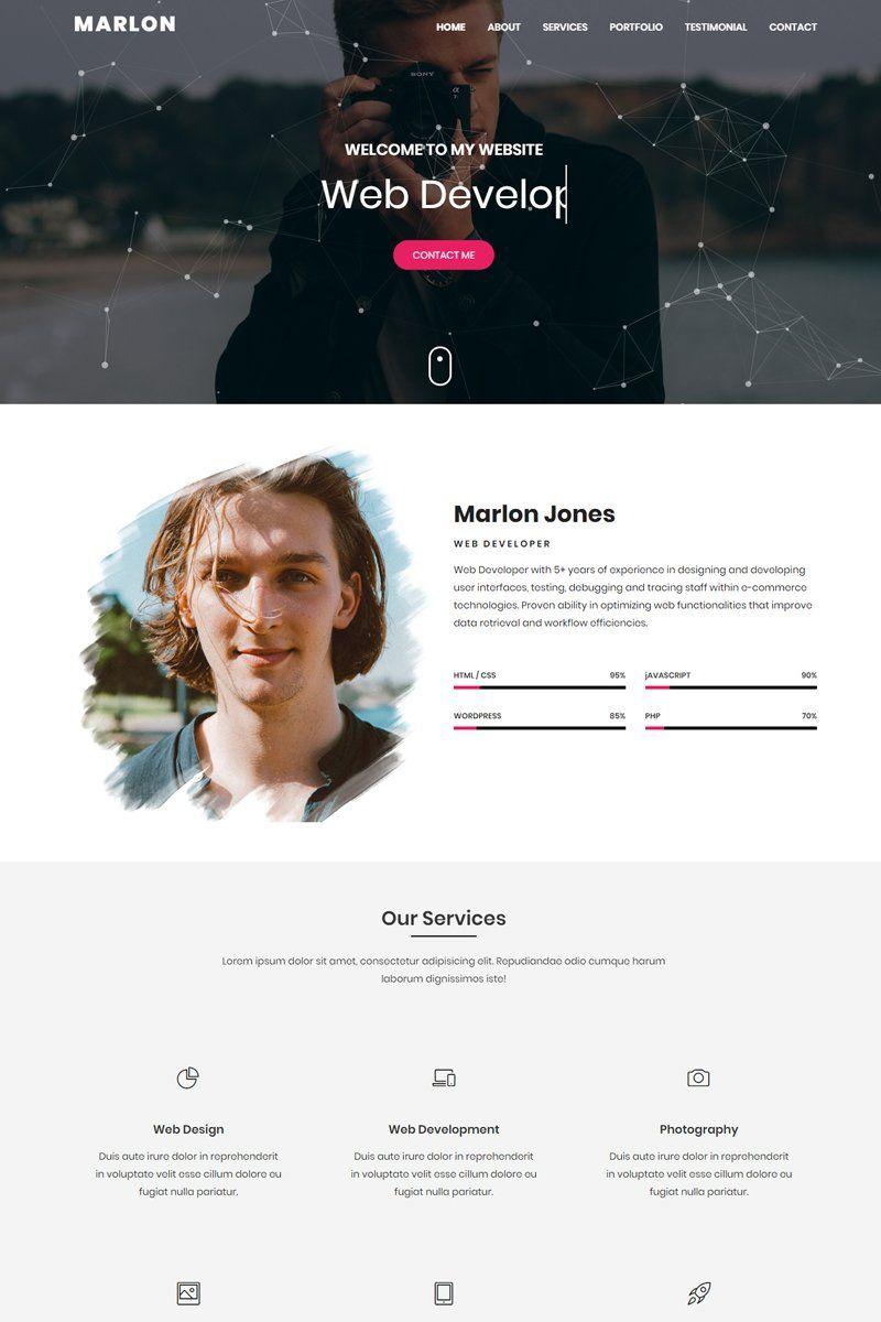 Marlon Personal Portfolio Html Landing Page Template 100021 Portfolio Website Inspiration Personal Portfolio Portfolio Website Design