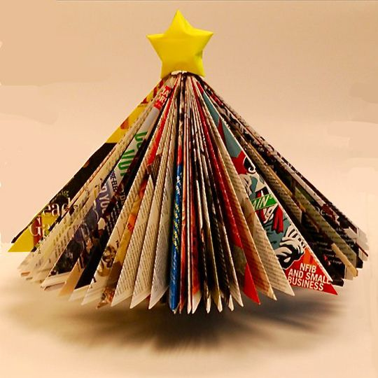 How To Make A Magazine Christmas Tree Christmas Tree Crafts Unique Christmas Trees Christmas Crafts