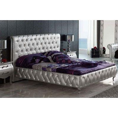 Lorena Modern Silver Tufted Bed. Love!