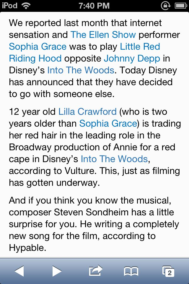 Holy shit I'm sooo excited! Also very relived that Sophia Grace won't be doing it. Lilla Crawford will be awesome!