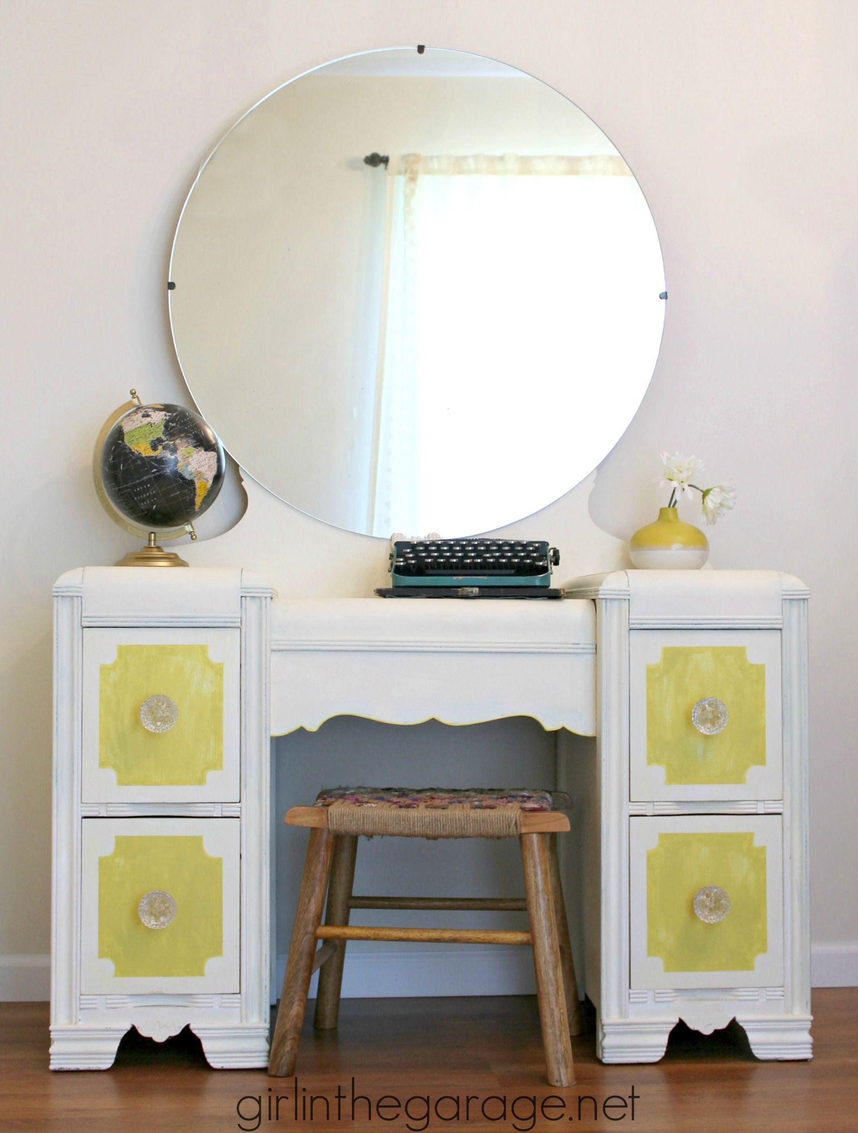 Bright White and Yellow Waterfall Vanity {Themed Furniture