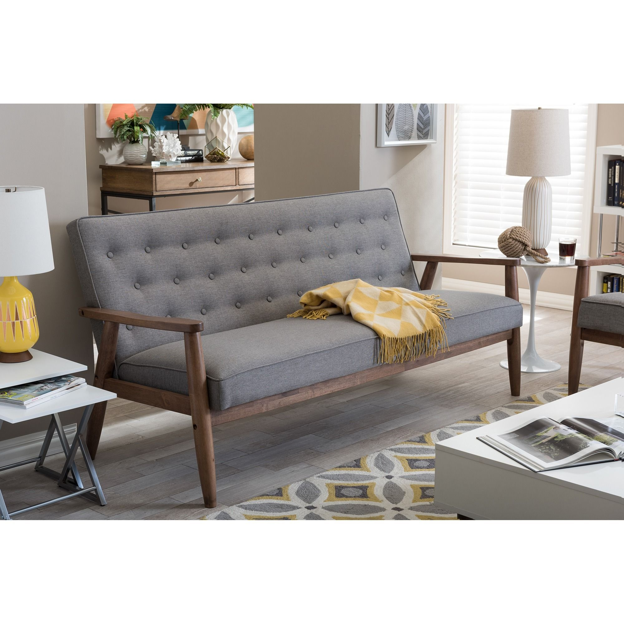 Baxton Studio Sorrento Mid Century Retro Modern Grey Fabric Upholstered  Wooden 3 Seater Sofa By Baxton Studio