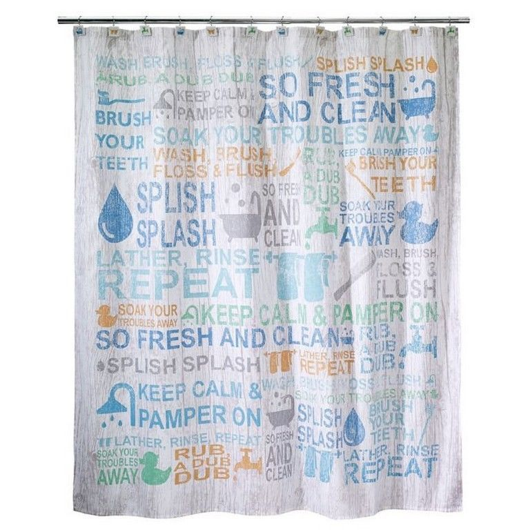 Avanti Bath Words Fabric Shower Curtain 72x72 New Avanti Bath