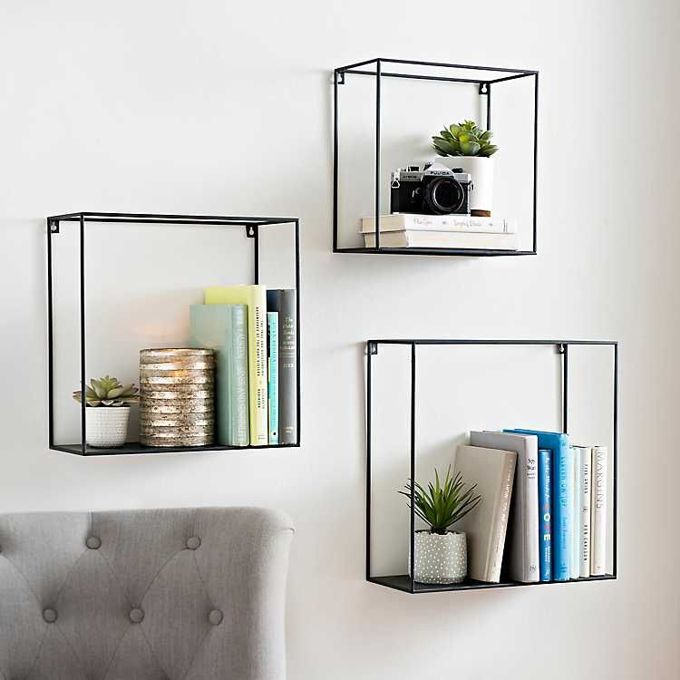 all metal open cube wall shelves set of 3 cube wall on wall shelves id=88442