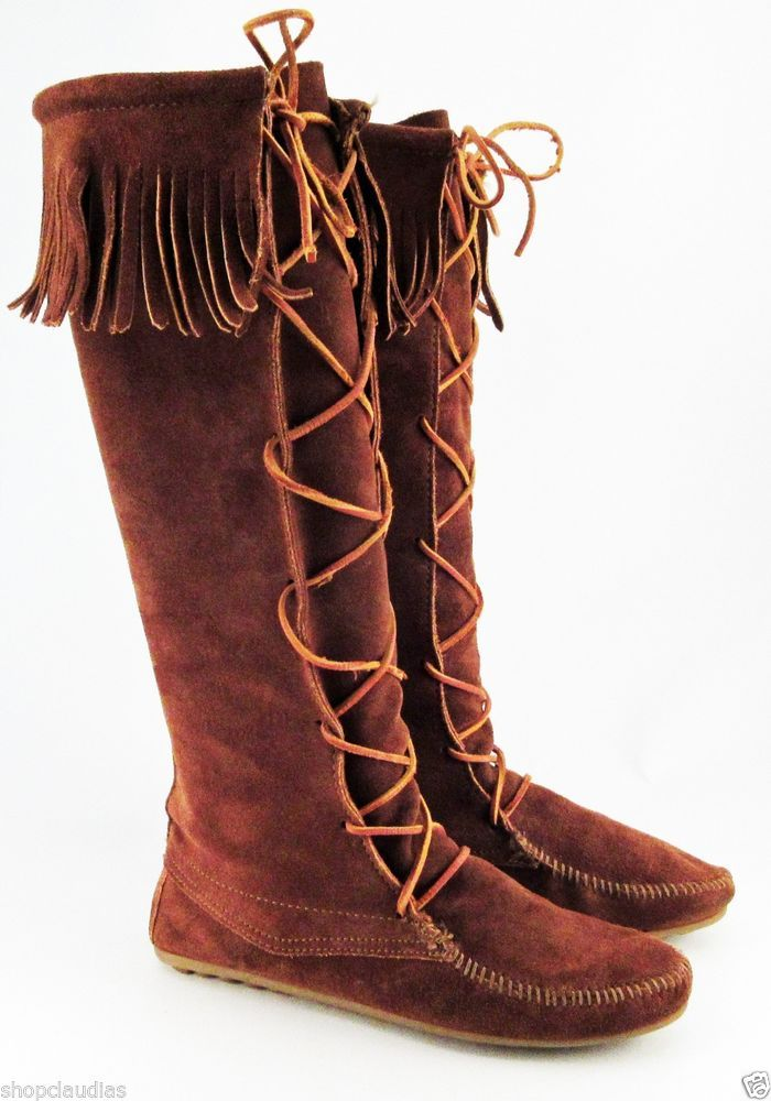 Minnetonka Moccasins Damens's Braun Suede ... Leder Tall Stiefel Lace up ... Suede 61118c