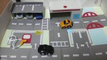 持ち運べるミニカータウンマップ 手作りおもちゃ おもちゃ ダンボールおもちゃ