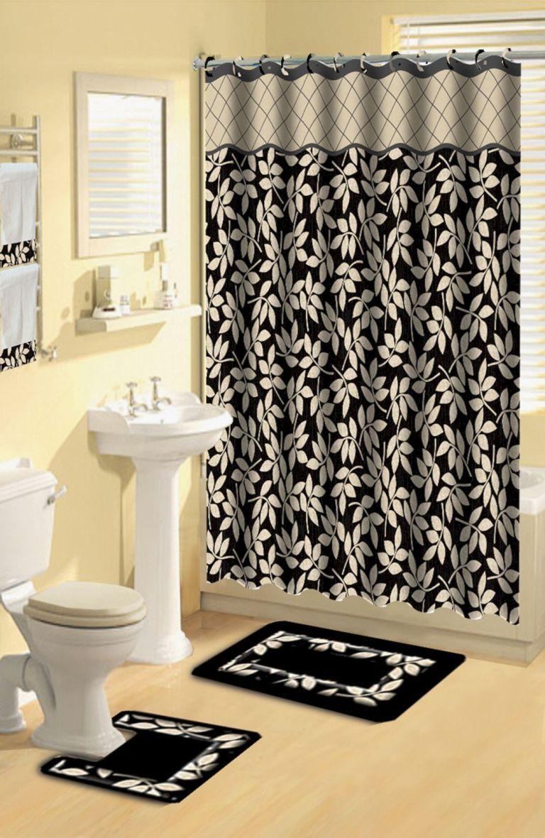 Bathroom Shower Curtain Sets, Black Bathroom Rug Set