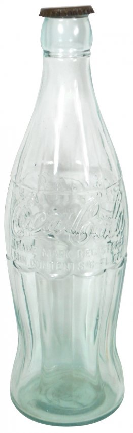 """Coca Cola counter display Christmas bottle, glass with metal cap  20""""H x 6""""D"""