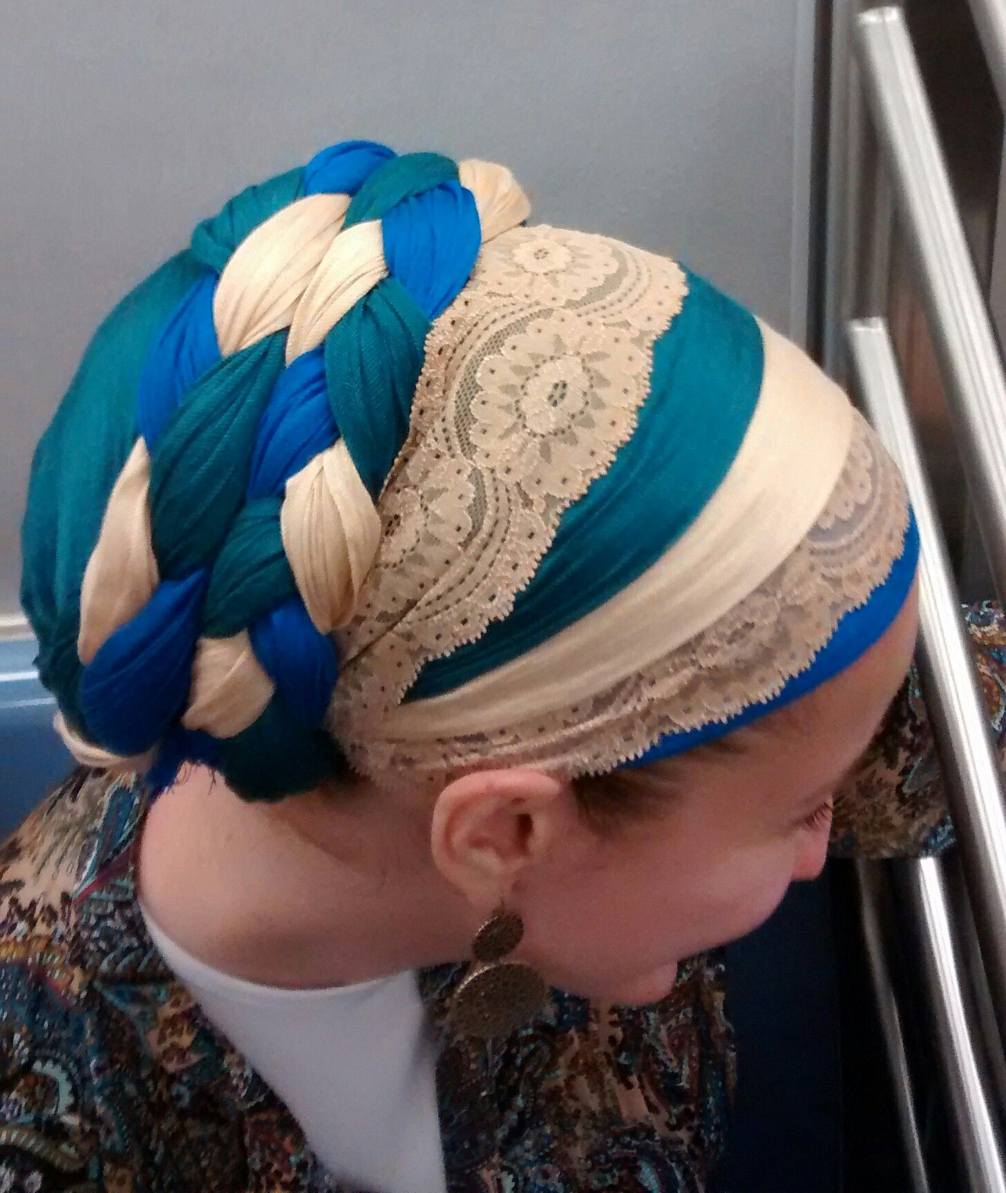 The Double Braid With A Little Extra Hair Cover Hair Wraps Scarf Hairstyles