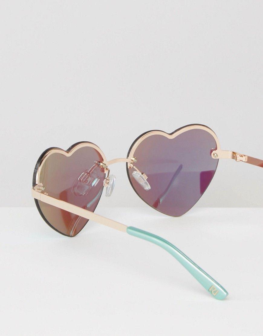 658f6e2a34 Imagen 4 de Gafas de sol en forma de corazón con diseño reflectante sin  montura de River Island