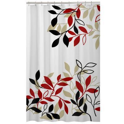 Maytex 70 In X 72 In Satori Leaves Fabric Shower Curtain Multi