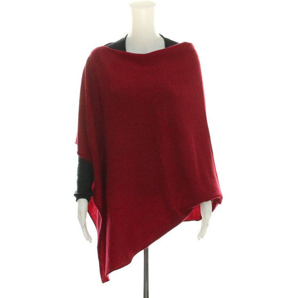 Bordeaux Red 100 Cashmere Poncho ($244) ❤ liked on Polyvore featuring outerwear, long poncho, long slip, red slip, mini slip and travel poncho
