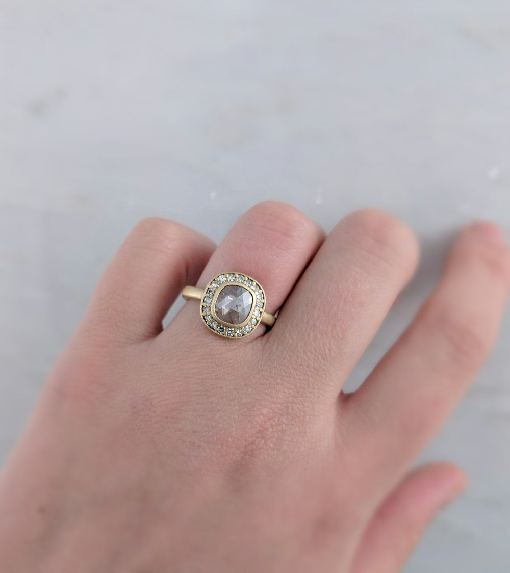 Translucent Rose Cut Diamond Halo Ring in 14K Yellow Gold | Halo ...