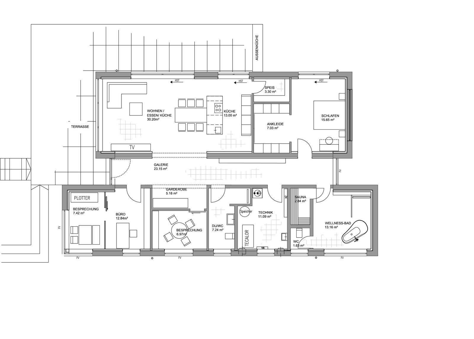 der betont grafisch gehaltene plus energie haus spielt mit zwei bauk rpern die eine gl serne. Black Bedroom Furniture Sets. Home Design Ideas