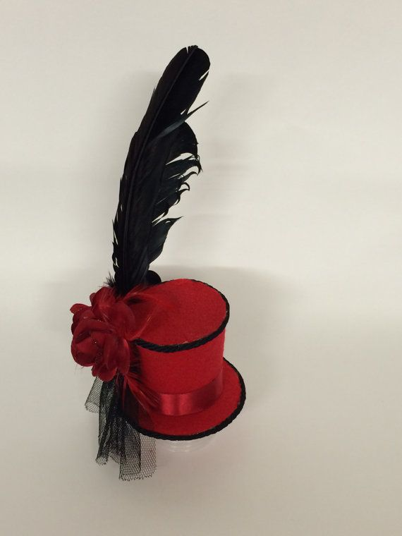 red rose mini top hat by DevinsArtisanDesigns on Etsy