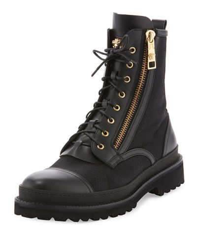 5e7e9260634289 VERSACE Small Medusa Leather   Jacquard Combat Boot