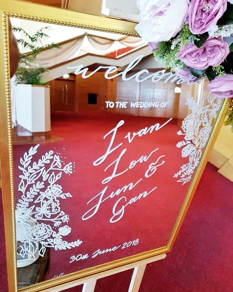 Custom Wedding Sign Mirror Welcome Sign Wedding Reception In