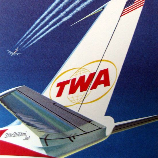 Detail Of TWA Trans World Airlines Star Stream Jet 1962 - Mad Men Art: The 1891-1970 Vintage Advertisement Art Collection