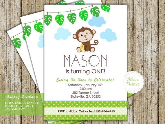 Monkey Birthday Invitation Little Monkey Birthday Party First