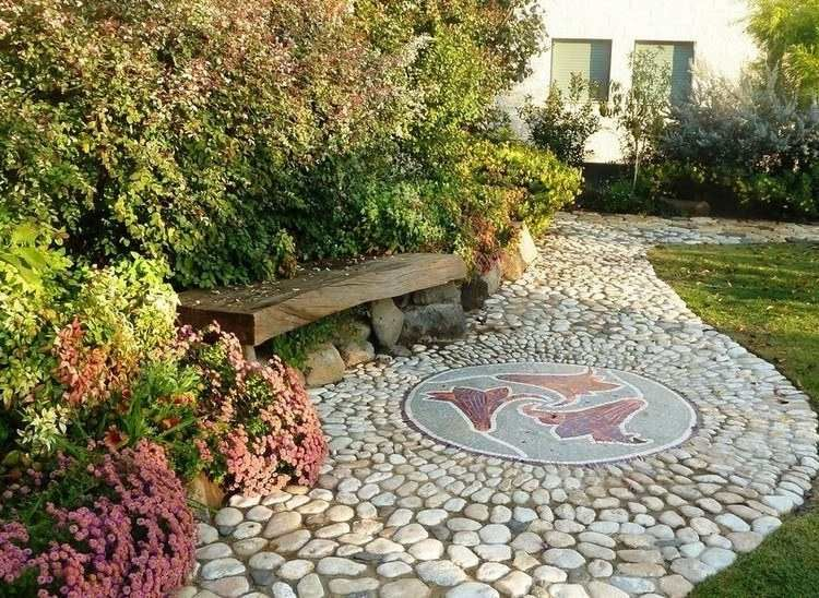 D co jardin avec mosa que en 28 beaux exemples all e for Decoration de jardin avec des galets
