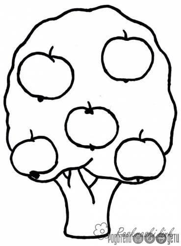 Раскраски Деревья раскраска яблоня,большие яблоки,большое ...