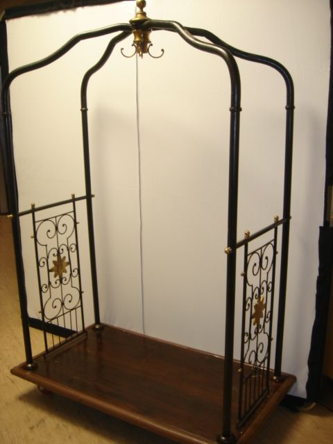 Large, wrought iron and brass, hotel luggage trolley/cart ...
