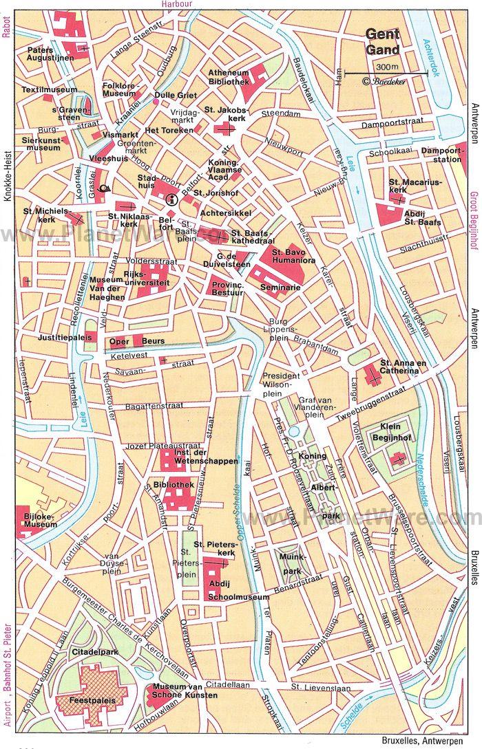 Ghent Map Tourist Attractions Belgium Pinterest Wanderlust